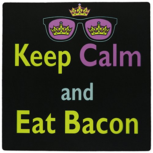 3Drose LLC 8 X 8 X 0.25 Inches Mouse Pad, Cmyk Keep Calm Parody Hipster Crown and Sunglasses Keep Calm and Eat Bacon - Bacon Sunglasses