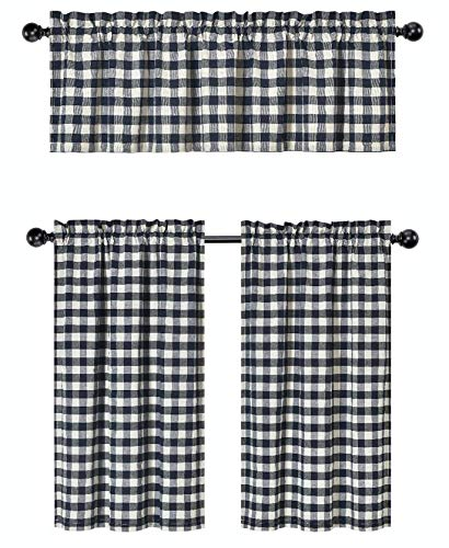 (GoodGram 3 Pc. Plaid Country Chic Cotton Blend Kitchen Curtain Tier & Valance Set - Assorted Colors (Navy))