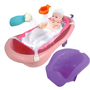 4 Stages - Infant to Toddler - Baby Bathtub with Seat & Shower Toys