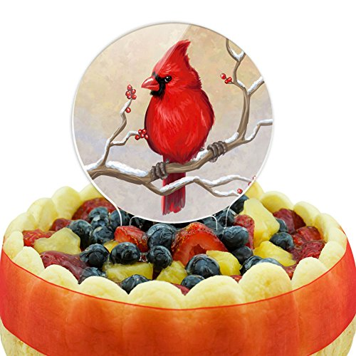 Cardinal in Winter Cake Top -