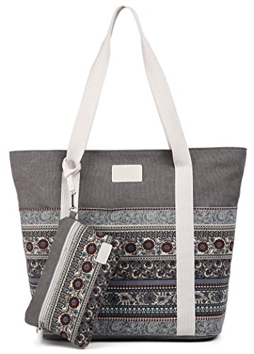 ArcEnCiel Canvas Tote Womens Shoulder Handbag with Purse (Gray) ()