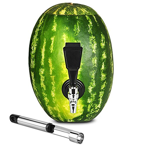 Fruit Keg Tapping & Spout Kit: Stainless Steel Drink Dispenser Set for Watermelons & Other Fruits - Fun Home Bar Gadgets & Cocktail Party (Fun Halloween Liquor Drinks)