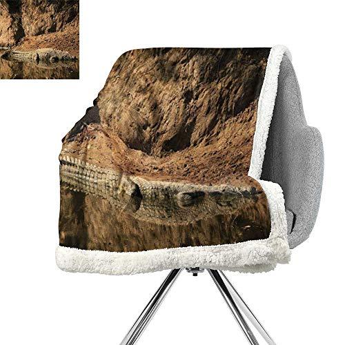 - ScottDecor Africa Light Thermal Blanket,Nile Crocodile Swimming in The River Rock Cliffs Tanzania Hunter Geography Print,Brown Tan,Print Digital Printing Blanket W59xL47 Inch