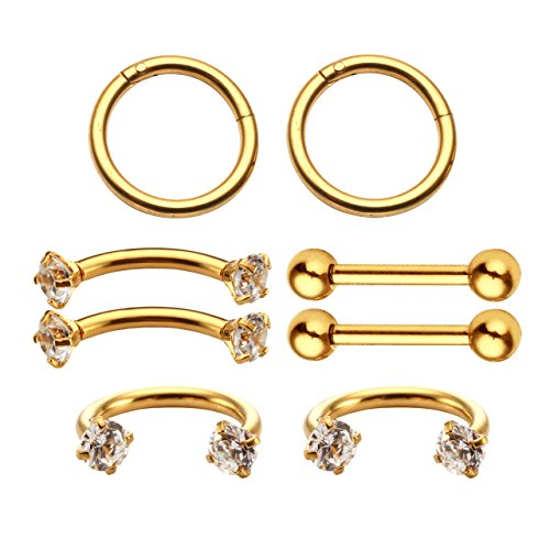 BOPREINA 8Pcs Surgical Steel 16G Nipple Rings Barbell Nose Rings Hoop Horseshoe Helix Tragus Cartilage Stud Earrings Eyebrow Lip Labret Septum (Horseshoe Nipple)