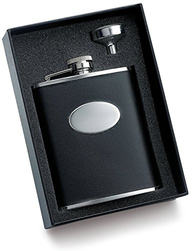 Personalized-Black-leather-flask-gift-set-Engraved-6-oz-tux-flask-Groomsmen-gift