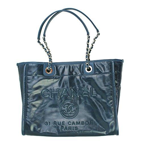 Chanel Deauville Blue Leather Chain Shoulder Bag - Chanel Shoulder Bag