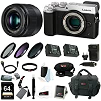 Panasonic Lumix GX8 Mirrorless Camera (Silver) w/ 25mm f/1.7 Lens & 64GB SD C...