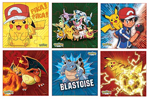 Pokemon Style Characters Zigsaw Puzzle, Pack of 6, Total 96 Pieces, Assortment 2
