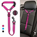 Didog Dog Vehicle Car Seat Belt Harness for Car Travel,Adjustable Dog Leashes Fit Small Medium Large Dogs,Rose