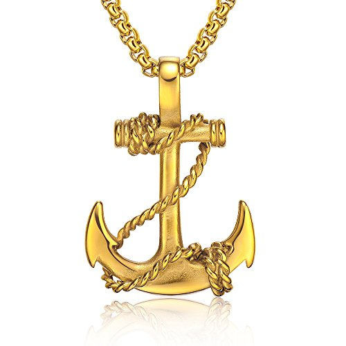 (Anchor Pendant Nautical Gold Pirate Necklace Cool Vintage Gifts for Men Included 22'Chain)