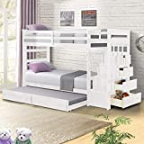 Solid Wood Bunk Bed Frame for Kids, Hardwood Twin Over Twin Bunk Bed Frame with Trundle and Staircase, Natural Finish, White, by Harper&Bright Designs