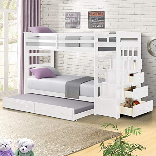 - Solid Wood Bunk Bed Frame for Kids, Hardwood Twin Over Twin Bunk Bed Frame with Trundle and Staircase, Natural Finish, White, by Harper&Bright Designs