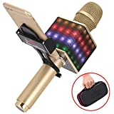 KaraoKing Wireless Bluetooth Microphone-Portable KTV Machine with Speaker, LED Lights and Bonus Phone Holder Perfect for Pop, Rock n Roll, Solo Parties and More (H8 2.0 Dark Gray), (HG1)