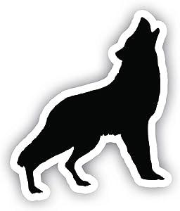 "Wolf Howling Black Sticker Car Decal Vinyl Sticker - Vinyl Decal - Car, Bumper, Laptop, Decor, Window Vinyl Decal Sticker - (4"" Vinyl Decal)"