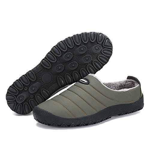 Baumwolle Freizeit Outdoor Damen Schuhe Warm Pantoffeln Winterschuhe Khaki Gefütterte Hausschuhe Plüsch Herren Slipper wqvFtt