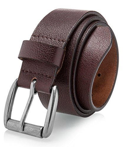 Men's Casual Jean Belt Soft Top Full Grain Leather Roller Buckle 38MM Brown -