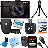Sony DSC-RX100M II DSC-RX100M2 DSC-RX100MII RX100M2 RX100MII DSC-RX100M II Cyber-shot Digital Still Camera 20.2MP, Black Bundle with 64GB Class 10 High Speed Card, Spare Battery, Micro HDMI Cable SD Card Reader, Mini Tripod + More!
