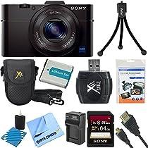 Sony DSC-RX100M II DSC-RX100M2 DSC-RX100MII RX100M2 RX100MII DSC-RX100M II Cyber-shot Digital Still Camera 20.2MP, Black Bundle with 64GB Class 10 High Speed Card, Spare Battery, Micro HDMI Cable SD Card Reader, Mini Tripod + More!