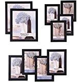 SONGMICS Picture Frames Set of 10 Photo Frame - Two 8x10 in, Four 5x7 in, Four 4x6 in, Black URPF10B