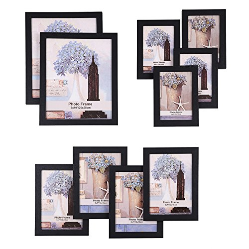 SONGMICS Picture Frames Set of 10 Photo Frame - Two 8x10 in, Four 5x7 in, Four 4x6 in, Black URPF10B 4' Round Sticker