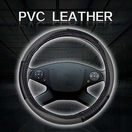 (cciyu Steering Wheel Cover Universal 15 Inch PVC Leather Black/Grey Car Steering Wheel Cover)