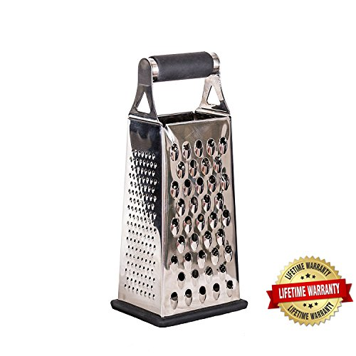 Best Cheese Grater, 4 Sided Stainless Steel Hand Held Box, Pro Quality, Microplane, Lemon Zester, Vegetable, Ginger, Parmesan, Chocolate, Nutmeg, Removable Base, Easy To (Grate Garlic Slide)