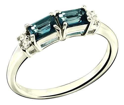 Sterling Silver 925 Ring LONDON BLUE TOPAZ and WHITE TOPAZ 0.92 Carats with Rhodium-Plated Finish (11) (Sterling Bow Ring)