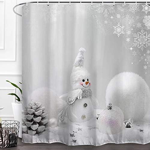 Country Snowman Fabric Shower Curtain Trees and Heart Wreaths Christmas Bathroom