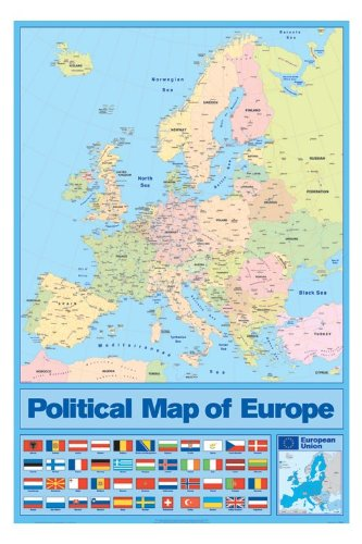 Amazon huge laminated encapsulated europe map flags vertical huge laminated encapsulated europe map flags vertical poster measuring 36 x 24 inches 915 gumiabroncs Choice Image