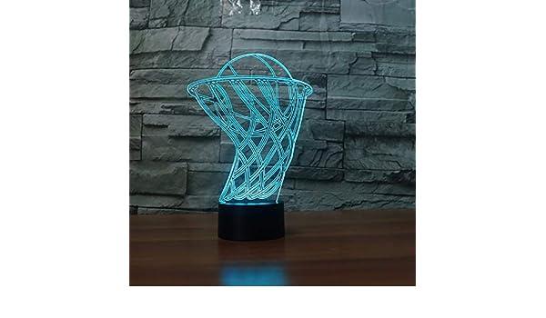 Cambio De Color 3D Caja De Baloncesto De Acrílico Luz De Noche Led ...