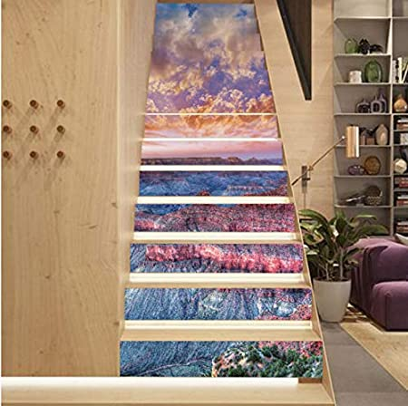 Haipeiy Paredes Pegatinas De Pared Decoración 13 Unidades/Set DIY 3D Pegatinas Escalera Sunset Grand Canyon Patrón para Casa Escaleras Decoración Escalera Etiqueta de La Pared: Amazon.es: Hogar