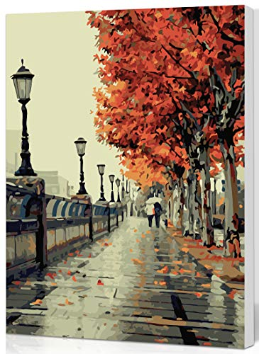 (SHUAXIN DIY Oil Painting Paint by Number Kits DIY Canvas Painting by Numbers Acrylic Oil Painting for Adults Kids Romantic Autumn Love Wooden Framed)