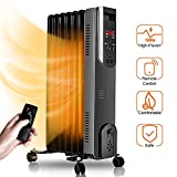 Airchoice Oil Heater - Oil-Filled Radiator with Remote Control, Digital Display, Overheat & Tip-Over Protection, 600W/900W/1500W Constant Heating, Comfortable Companion in Cold Weather