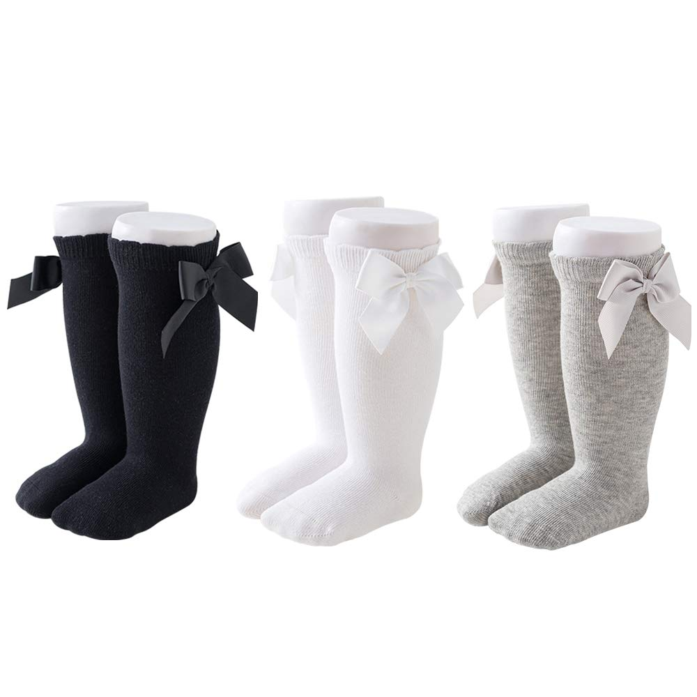 CozyWay Baby Girls Knee High Socks Newborn Little Kids Bow Long Stockings Infants Toddlers Ruffled Princess Cute Bow Socks