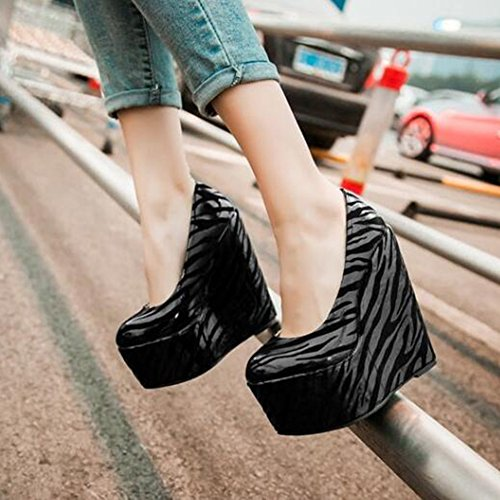 Easemax Womens Trendy Zebras Round Toe Low Top High Platform Wedge Heel Pumps Shoes Black K3jbOuPGt