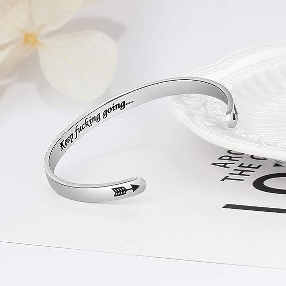 Grand Made Pulsera de moda Grabado Nombre Pulsera Joyas Mujer Hombre Pulsera Deseos grabados personalizados de acero inoxidable Grabado Regalo de ...