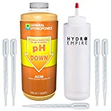 General Hydroponics pH Down Quart - Lower Nutrients pH in Hydroponic Soil System - The Most Advanced Phosphoric Acid to Test in Your Garden Includes 5 Pipettes and Squeeze Bottle Solution Control Kit