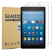 All-New Fire HD 8 Screen Protector (2017 Release),ELWEILEN High Definition Anti Scratch Tempered Glass Screen Protector for All-New Fire HD 8 Tablet [2-Pack]