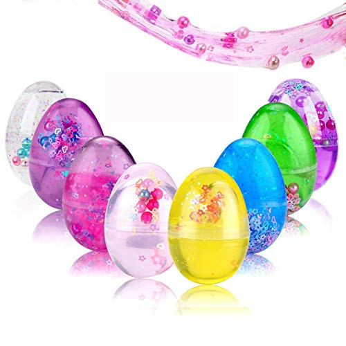 (SLOUEASY - 8 Pack Full Colorful (Blue,Purple,Green,Yellow,Rose,Red,Pink,Clear) Soft Egg Slime Crystal Fluffy Slime Scented Stress Relief Slime Toys with Fruit Slices Clay Molds Craft Supplies,Beading)