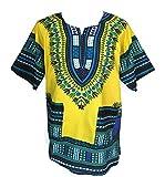 Vipada Handmade's Traditional Dashiki Shirt for Men and Women (Large, Yellow)