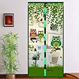 mosquitero magnética para puerta, diseño de búho de malla, mosca magnética, mosquitero para puerta, cortina de malla de 90210 cm, Verde