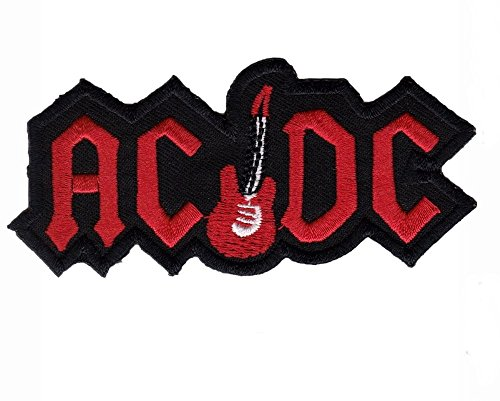 Acdc Ac Dc with Guitar Punk Rock Heavy Metal Music Band Logo Patch Sew Iron on Embroidered Appliques Badge Sign Costume Approx: 10x4.5 Cm (Guitar Logo Dc)