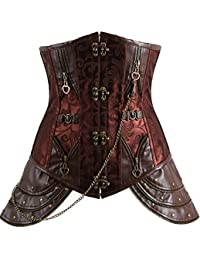 Imilan Retro Steampunk Faux Leather Underbust Corset Bustier Top