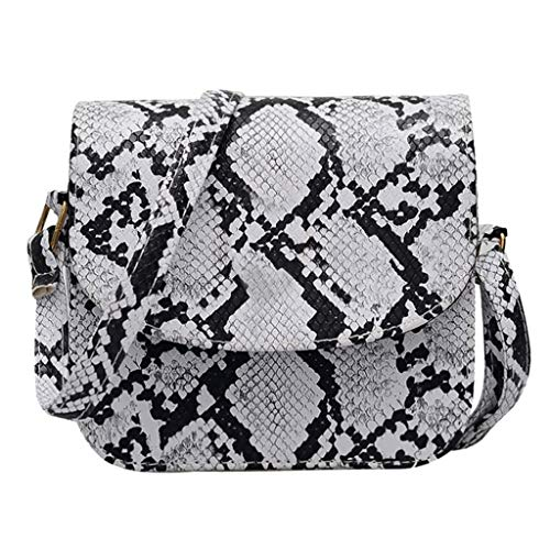 Londony ✡ Women Snakeskin Pattern Handbag Envelope Clutch Bag with Metal Chain Strap Retro Purse Leather Handbag