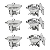 Zeny Set of 6 Round Chafing Dish 5 Quart Stainless Steel Full Size Tray Buffet Catering (6)