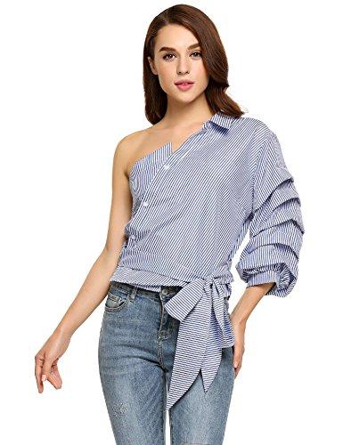 Zeagoo Women's Half Sleeve One Shoulder Waist Bowknot Striped Shirt Top Blouse Blue XL