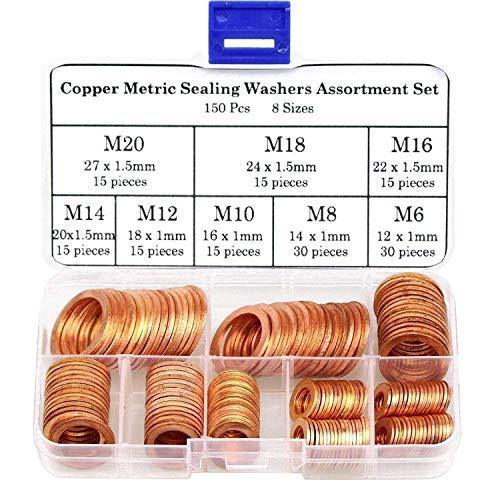 DYWISHKEY 150Pcs 8 Sizes Copper Metric Sealing Washers Assortment Set