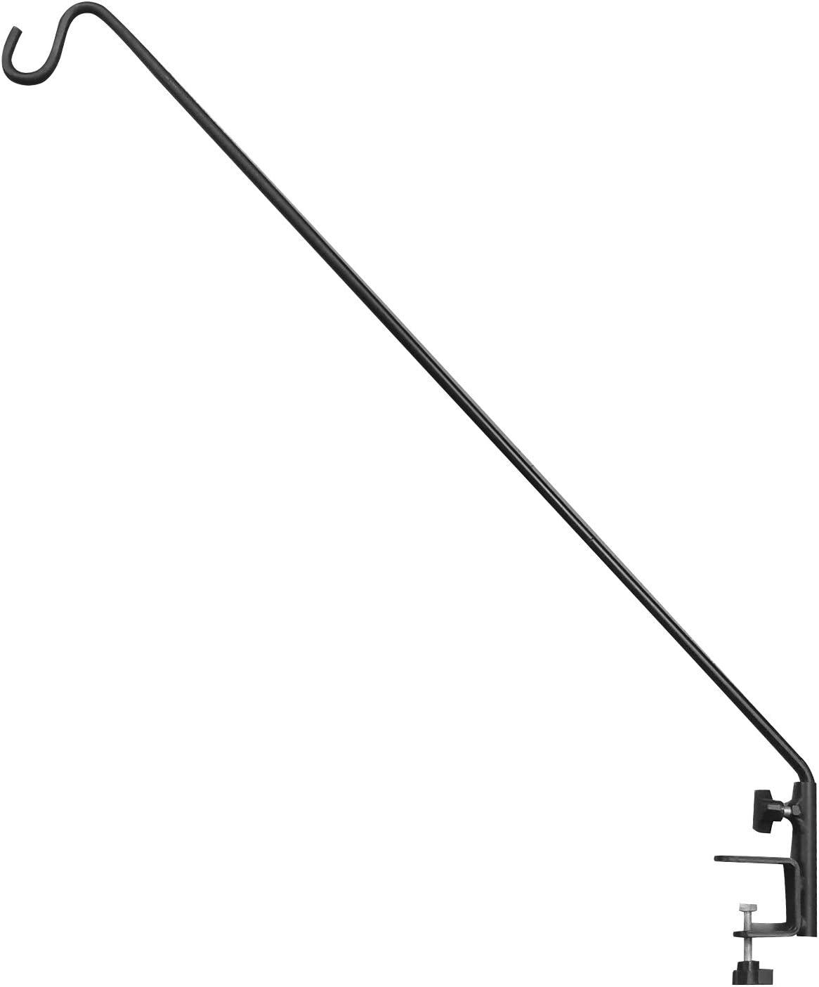 """43""""Heavy Duty Deck Hook, Extensible and Adjustable Deck Hook with 2"""" Non Slip Horizontal Clamp for Hanging Bird Feeder, Plants, Suet Baskets,Wind Chimes,Lanterns and More (1 Pack)"""