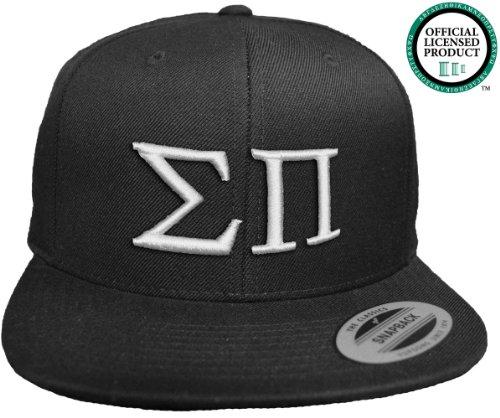 SIGMA PI Flat Brim Snapback Hat White Letters / Sig Pi | SigPi Frat | Fraternity Cap
