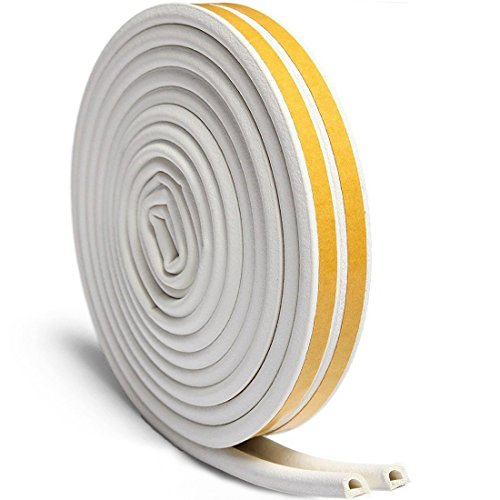 Door Seal Weather Stripping, Window Rubber Seal Strip Self Adhesive Foam Tape for Draft Stopper Gap Blocker and Wind blocker, 3/8-Inch x 1/4-Inch x 10-Feet, 2 Seals (White)